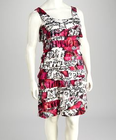 Pink & White Tier Plus-Size Dress by Sangria on #zulily today!