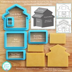 3D Barn, House, Bakery, Schoolhouse, Church & Gingerbread House Cookie Cutter and Fondant Cutter - Full Instructions Coming