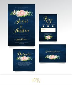 The JENNY . Wedding Invitation Roses Peonies par BuffyWeddings