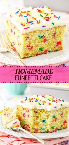 This moist and tender Homemade Funfetti Cake is full of rainbow sprinkles and topped with a tasty vanilla buttercream frosting! It's a classic birthday cake recipe made completely from scratch! Easy Birthday Cake Recipes, Best Dessert Recipes, Delicious Desserts, Vanilla Buttercream, Buttercream Frosting, Vanilla Cake, Baking Recipes, Cookie Recipes, Basic Butter Cookies Recipe
