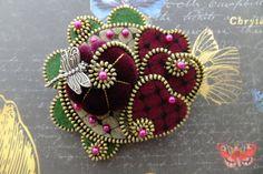 Velvet Felt and Hearts Zipper brooch by MsLolaCreates on Etsy, $42.00