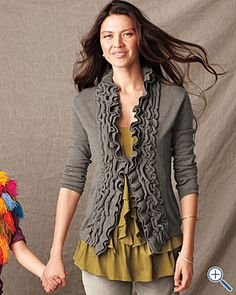 cardigan refashion idea...ribbed ruffle followed by two strips of center-ruffled fabric of same material.
