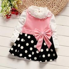 2017 Spring and Autumn Fall Baby Girls Dress Infant Girl Strip Bow Dot Dress Kid's Dress Long Sleeve Top+ Dress Toddler Girl Outfits, Toddler Fashion, Kids Outfits, Kids Fashion, Baby Girl Party Dresses, Girls Dresses, Dress Party, Girl Frock Dress, Dot Dress