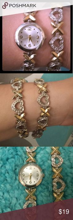 BEAUTIFUL Matching Xoxoxo Watch & Bracelet!! This set is really pretty & sure to draw attention!  Gold & Silver Plated No Flaws That I can see 7 1/2 Inches long Battery is good! REASONABLE OFFERS MOST LIKELY ACCEPTED!! :) Accessories Watches