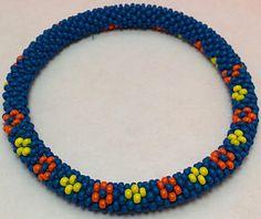 Handmade Crochet Rope Bead Bracelet Bangle Cuff Blue Yellow Orange Wrist Band, Roll On Bracelet, Beads Bracelet, Nepalese Roll On Bracelet