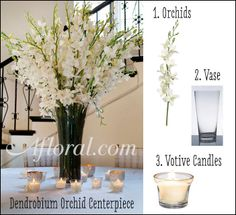 Love this elegant white orchid centerpiece? So do we! We made it using tall white orchids, a glass vase, and surrounded the arrangement with votive candles! Recreate this look for your upcoming wedding!