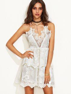 W.O.W.. Beige Spaghetti Strap Lace Double Layer Dress