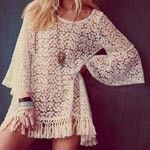 2016 New Vintage Hippie Boho Bell Sleeves Gypsy Festival Fringe Shirt Lace Embroidery Dress Blouse Apricot Ruffle Tassel Dress