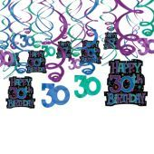 The Party Continues 30th Birthday Hanging Swirl Decorations 30ct Parties