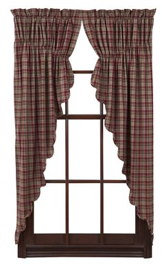 New Primitive Country BURGUNDY GREEN TAN CHECK Plaid Window Panel Prairie Swags #Country