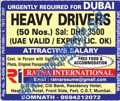 Connecting People: URGENTLY REQUIRED FOR DUBAI. HEAVY DRIVERS. JOB VI...