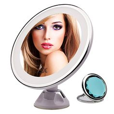 5x Magnifying Lighted Makeup Mirror 360 Degree Rotating, Raphycool Wall Mounted Vanity Mirror Shower Mirror Bathroom Cosmetic Mirror with Power Locking Suction Cup for Makeup Tweezing Shaving >>> Learn more by visiting the image link.