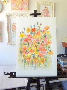 Garden Poppies Original Watercolor