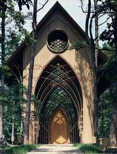 Cooper Memorial Chapel in Beuna Vista, Arkansas. Architect Fay Jones. Been here and it's gorgeous.