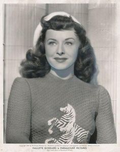 Paulette Goddard In A Suse Sweater 40s 50s photo print ad zebra sweater