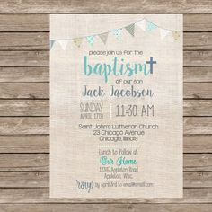 Burlap Boy Baptism Invitation or any event by TheAvocadoSeed