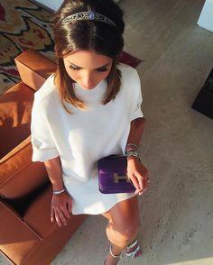 Ainda de ontem pra mostrar minha tiara de princesa @sandrapinheirojoias  e o look mais de pertinho @carolbassibrand  { amei muito esse conjuntinho de tricot! } #ootd #chadahelena