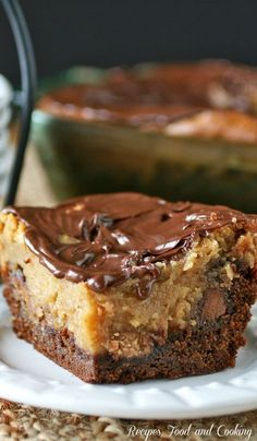 Chocolate Peanut Butter Ooey Gooey Butter Cake - Recipes Food and Cooking