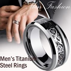 Buy Men's Fashion Dragon Titanium Stainless Steel Ring Mens Jewelry Wedding Band Silver Ring at Wish - Shopping Made Fun Stainless Steel Rings, Punk Rock, Blue And Silver, Wedding Bands, Jewelry Rings, Rings For Men, Silver Rings, Dragon, Mens Fashion