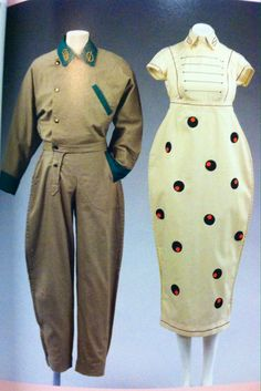 Designs by Willy Brown 1980, cotton suit with Tyrolean detail and hand painted cotton dress