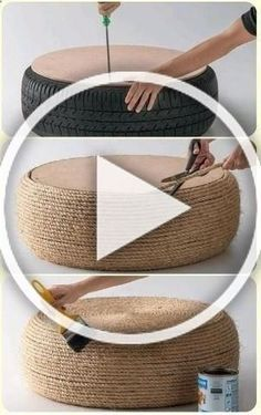 use an old tire, wood flat top, cover it with rope, coat it, voila! Diy Crafts To Sell, Home Crafts, Home Made Simple, Diy Wall Decor, Home Decor, Boho Diy, Diy Wood Projects, Creations, Outdoor Seating