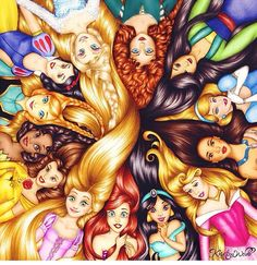 Disney Princesses by colour_me_creative on Instagram -- Hey, it's all 13! So rare