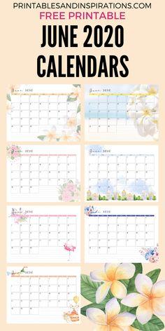 2020 Monthly Calendar - Free Printable June 2020 Calendar - Printables and Inspirations Free Printable Calendar, Printable Letters, Printable Cards, Printable Planner, Free Printables, Calendar Templates, Email Templates, Calendar Themes, Print Calendar