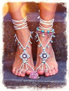 White BRIDAL BAREFOOT sandals