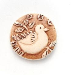 Rustic Bird on a Branch Polymer Clay Pendant by Distlefunk2