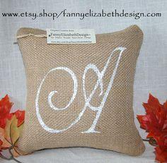 Sm. Burlap Initial Pillow FREE SHIPPING 8x by FannyElizabethDesign, $25.00