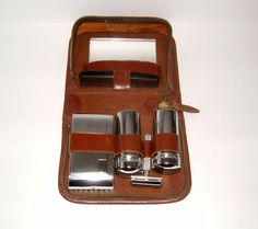 1960s Gents Travelling Vanity Set in Leather Case by BiminiCricket