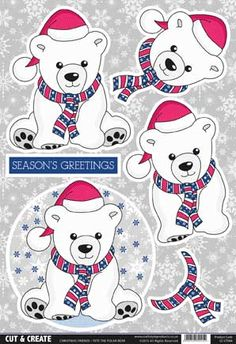 Buzzcraft Cut & Create - Christmas Friends - Pete the Polar Bear Christmas Sheets, 3d Christmas, Office Christmas, Christmas Cards To Make, Christmas Images, Christmas Decorations To Make, Xmas Cards, Christmas Templates, Christmas Printables