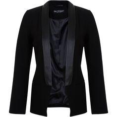 Miss Selfridge Lapel Tux Blazer, Black found on Polyvore featuring outerwear, jackets, blazers, black tuxedo blazer, black blazer, black tuxedo, tux jacket and long sleeve blazer