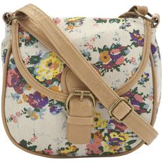 F&F Floral Cross Body Bag ($7.85) ❤ liked on Polyvore featuring bags, handbags, shoulder bags, accessories, purses, bolsas, bolsos, flower print handbags, brown purse and brown cross body handbags
