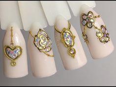 """Дизайн ногтей """"Жидкие камни с помощью голографических пайеток"""" - YouTube"""