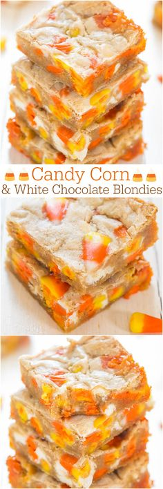 Candy Corn and White Chocolate Blondies - Wondering what to do with your candy corn? Bake it into soft, easy blondies! Best.Use.Ever.