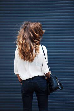 dustjacketattic:  white blouse & black skinnies | raspberry & red