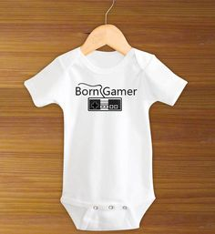 Born Gamer Baby Funny One Piece Bodysuit Shirt Geek via Etsy