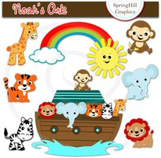 Instant Download Noah's Ark Digital Clip Art Web Design, Card Making, Scrapbooking, Kawaii - Personal and Commerical Use. $5.00, via Etsy.