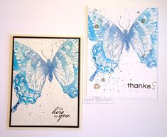 Distress Ink Swallowtail - Two cards from one inking
