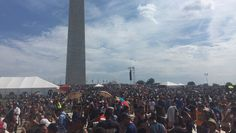 "In the sweltering summer heat, thousands of Christians gathered near the Washington Monument on Saturday to pray for a ""broken"" America.  Nick Hall, a you"