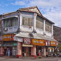 A corner coffee shop in Georgetown, Penang, Malaysia.