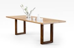new look Contemporary table. nice contrast of American Walnut base and Australian Blackbutt top. Contemporary Dining Table, American Walnut, Handmade Furniture, Minimal Design, White Oak, Dining Tables, Hardwood, Contrast, Base