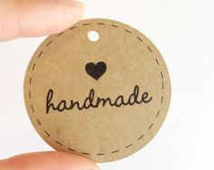 25 Kraft HANDMADE Circle Tags -  Hang Tags, Gift Tags, Labels, Die Cuts -  2.0 x 2.0 inch - Handmade Packaging