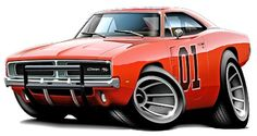 The General lee, 1969 Dodge charger wall graphic from the Dukes of Hazzard - Car Art Bugatti, Maserati, Cartoon Car Drawing, Car Drawings, Rat Fink, Porsche, Audi, General Lee Car, Betty Boop