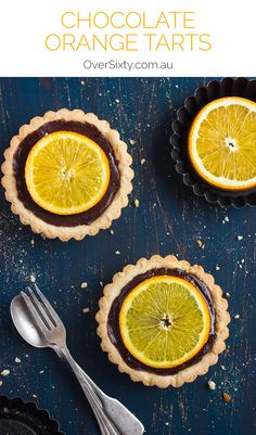 Chocolate Orange Tarts - These delicious tarts mix the heavenly taste of rich dark chocolate with orange for a melt-in-the mouth dessert.