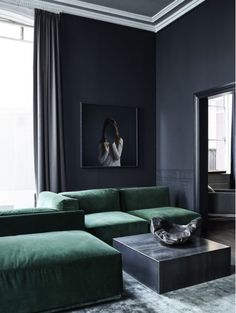 Dark Gray Living Room with Green Couches