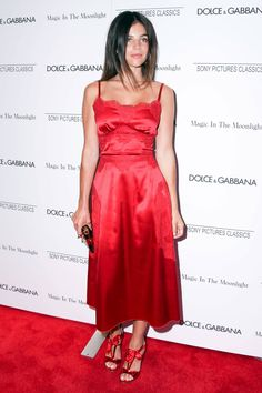 Julia Restoin Roitfeld in Dolce & Gabbana. sultry red satin slip with matching heels Celebrity Dresses, Celebrity Style, Street Style Trends, Red Carpet Dresses, Red Carpet Fashion, Playing Dress Up, Strapless Dress Formal, Dress Skirt, Nice Dresses