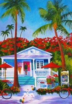 "Painting : ""Flamingo Crossing"" (Original art by Susan O'Neill Paintings) Original Paintings, Original Art, Polynesian Art, Caribbean Art, West Art, Tropical Art, Afro Art, Plant Illustration, Beach Art"
