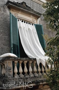 designer Italian linen drapes by marini & gerardi, I'd like to have my coffee on this balcony! Old Windows, Windows And Doors, Umbria Italy, House Of Turquoise, Door Curtains, Linen Curtains, Window View, Through The Window, Stairways